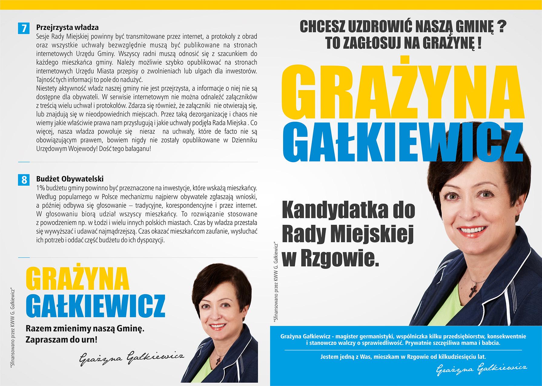 Ulotka wyborcza Grażyny Gałkiewicz - strona 1