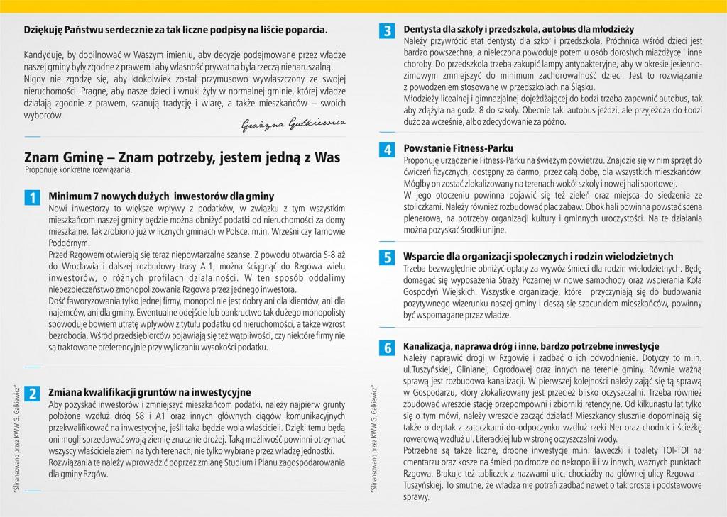 Ulotka wyborcza Grażyny Gałkiewicz  - strona 2
