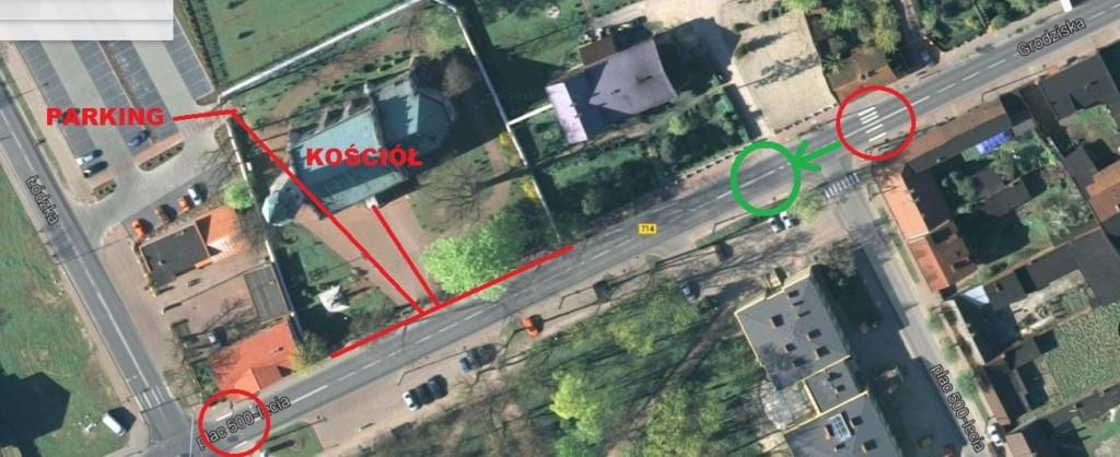 Apel o przeniesienie przejścia dla pieszych na drodze DW 714 i instalację na nim systemu oświetlenia