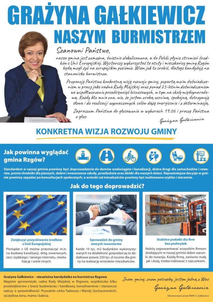 Grażyna Gałkiewicz - kandydat na Burmistrza Rzgowa - ulotka - str 1