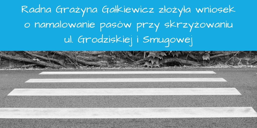 Wniosek o namalowanie pasów przy skrzyżowaniu ul. Grodziskiej i Smugowej w Rzgowie