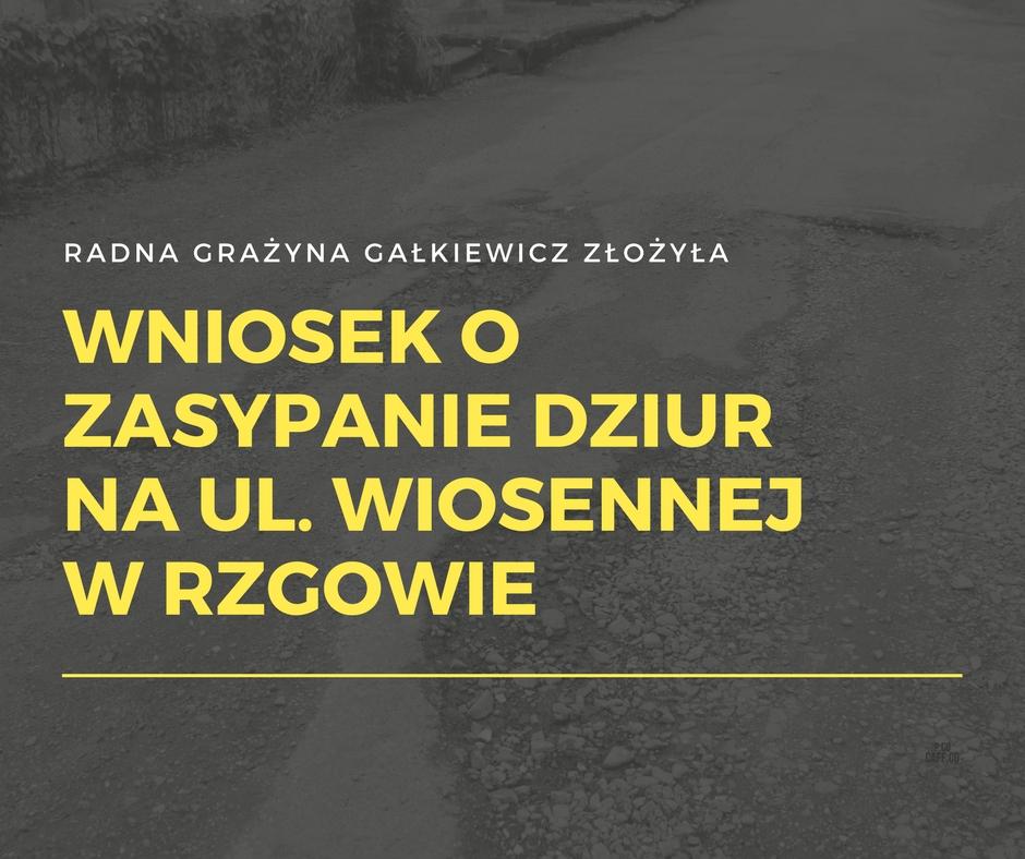 Wniosek o zasypanie dziur na ul. Wiosennej w Rzgowie