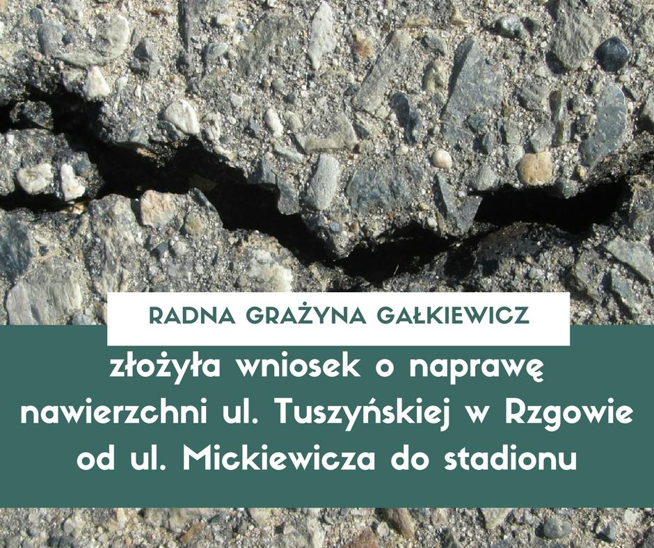 Wniosek o naprawę nawierzchni ul. Tuszyńskiej w Rzgowie od ul. Mickiewicza do stadionu