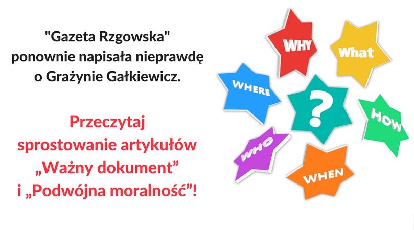 """Radna Gałkiewicz do """"Gazety Rzgowskiej"""": Proszę o sprostowanie artykułów """"Ważny dokument"""" """"Podwójna moralność"""""""