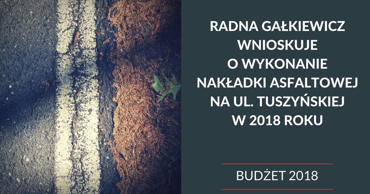 Wniosek do budżetu o wykonanie nakładki asfaltowej na ul. Tuszyńskiej