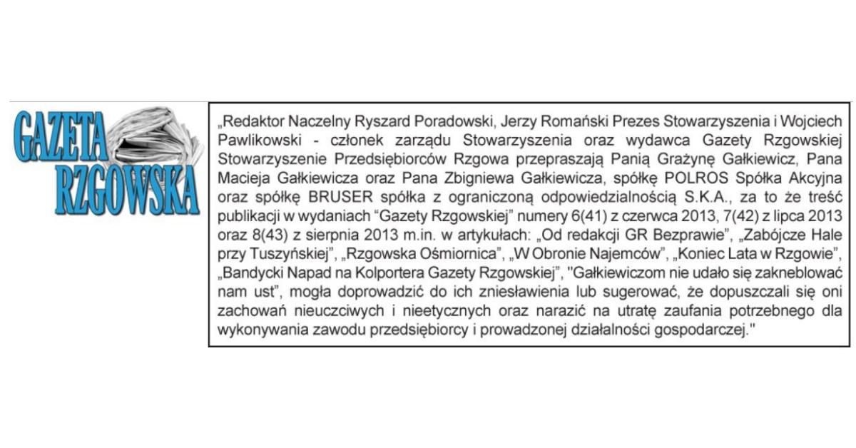 """Kolejne przeprosiny od """"Gazety Rzgowskiej"""", Ryszarda Poradowskiego i Jerzego Romańskiego!"""